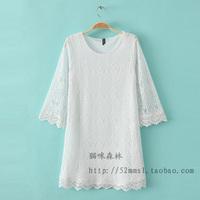 2014 spring women's fairy cutout crochet three quarter sleeve lace one-piece dress 0.26kg
