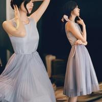 Clothing 2014 summer women's sleeveless vest pleated medium-long chiffon one-piece dress