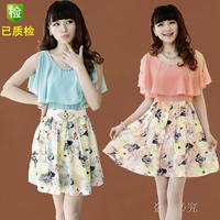 2014 spring women's slim princess sleeve faux two piece set summer chiffon one-piece dress