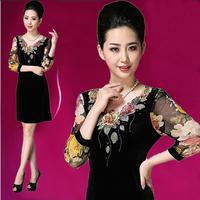 2014 spring plus size elegant women's embroidery slim gold velvet long-sleeve dress