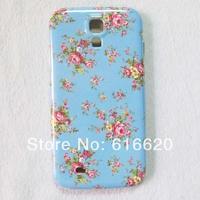 1 x Cute Blue Cherry Flower Hard Back Skin Case for Samsung Galaxy S4 IV I9500 I9505