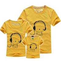 2014 tops men women boy girl children couple Parent child kid summer bear headset earpiece clothes clothing t shirt tees TB87