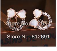 Fashion crystal bow ear cuffs no pierced ear clip charms heart earring opal earrings 2014 new U-type ear clips jewelry LM-C266