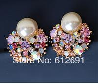 Hot  Fashion pearl ear cuffs no pierced ear clip charms colorful crystal earring on earrings 2015 new U-type ear clips LM-C267