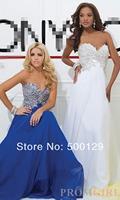 New Designs 2014 Elegant Sweetheart Neck Sleeveless A-Line Chiffon Long Crystal Beaded Prom Dresses