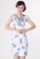 2013Slim printing women retro dress china traditional customs sexy dress Qipao free shipping
