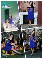 Free Shipping Celebrity Dress Women's Blue Colour Slash Neck Lace Cute Dress Evening Party Dress Top Quality