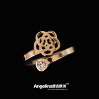 FREE SHIPPING~New Jewelry Fashion Korean Style 18k Rose Gold Plated Romantic Princess Flower Shining Ring