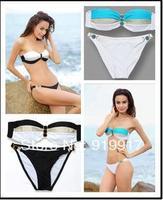 2014 New Design Swimwear With Diamond Explosion Black Blue Bikini Swimsuit Sexy Bra Hit Color Swimming Suit S/M/L