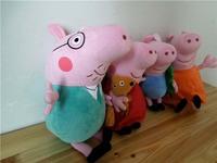 "3.25 sale Freeshipping Wholesale 4pcs hard wash peppa pig & george pig plush Mom & Daddy 15"" large size cute kids toddler"