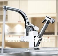 Free shipping Wholesale And Retail Promotion Chrome Brass Kitchen Faucet Pull Out Swivel Spout Vessel Sink Mixer Tap One Handle