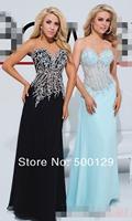 2014 Attractive Crystal Beaded Sweetheart A-Line Chiffon Custom Made Long Sheer Evening Dress
