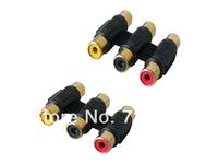 3 pcs/lot 3-RCA Composite AV Female to F Extender Adapter Coupler