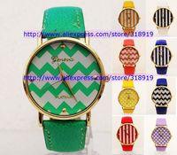 100pcs/lot hot sale 2014 geneva watch leather unisex women ladies girls fashion stripe wave dots same price watches 10 colors