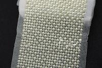 Free shipping   24row crystal rhinestone&pearls bling trims white setting