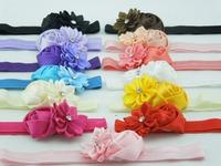 baby girl headbands Multi-Colored mini rose with satin ribbon flower Sparkling Rhinstones center Elastic headband 6pcs/lot