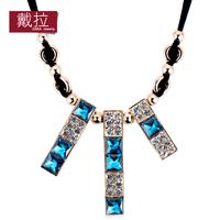 Elegant women necklace high quality vintage bule big crystal necklace populer cheap fashion jewelry TN258