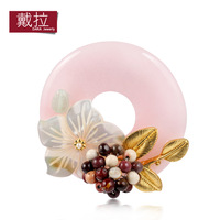 Brooch corsage female natural pink jade shell bohemia fashion handmade accessories rose 019