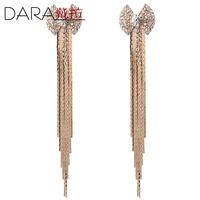 Fashion women's ultra Long Tassel earrings bow drop earring screw earrings no pierced fashion accessories Wholesale TE085