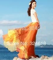 8 m posed mop fairy chiffon skirts double color stitching bust skirt Bohemia resort summer woman skirt fashion