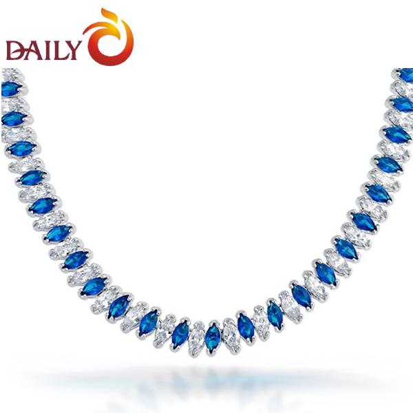 Blue Sapphire Tennis Necklace