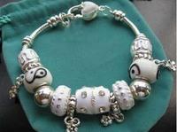 p43Bracelets & Bangles, wholesale 925 silver bracelets for women, fine white beads charm bracelets jewelry free shipping