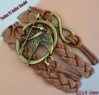 Fashion Vintage Bracelets Bronze Hunger Games Bird Arrow Handmade Braided Leather Wax rope Multilayer Charm Bracelet JZ-006