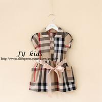 HOT girl plaid dress sleeveless two pockets summer dress baby girls dress children clothing