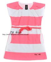 girl dress striped short sleeve summer dress with sash baby girls dress children clothing
