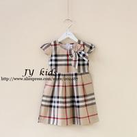 HOT girl plaid dress bowtie summer dress baby girls dress children clothing