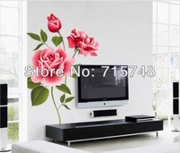 Red China Rose Monthly Flower Decal Vinyl Wall PVC Decor Decoration Living DIY Home Art Wallpaper Room House Sticker Poster