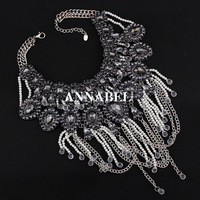 2014 New Vintage Pearls Tassel Necklaces Fashion Party Chunky Luxury Choker Crystal Pendants Necklace Statement Jewelry Women