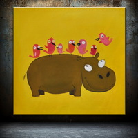 Free shipping cute carton animal Oil Paintings for Kid's Room