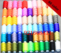 66 x400 Yard/Reel Mixed Colors Spools Polyester Sewing Thread For Hand & Machine