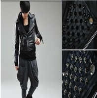 men punk new wave of male costumes costumes Korean Slim leather fashion personality rivet tide free shipping  4TTT