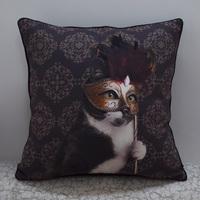 "18 * 18 "" Retro Decorative Cat Printed Microfiber Throw Cushion Cover Pillow Case for Sofa, Coffee"