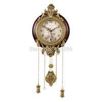 Metal Antique Solid Wooden Wall Clock Silent Movement Pendulum Clock + Free Shipping