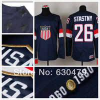 Hot selling 2014 sochi winter olympic Team usa  26 paul stastny Men's Ice Hockey jersey,Embroidery logos,size 48-56