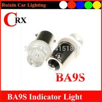 Free shipping 10pcs  BA9S 1 LED 12V Car LED Bulb Dashboard light White/Blue/Yellow/Red Light