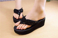 2014 Sandals Female Beaded Flower FLat Flip-flop flats Women's Shoes ,Silver, black, red,Free shipping