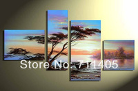 3 Size Free Shipping 100% Hand painted  scenery 4pcs group oil painting High Quality Wall Art on Canvas wholesale/ A-388