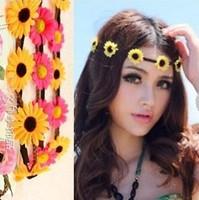 wholesale fashion sunflowers bohmian beach accessories hairband headbands three flower mixcolor