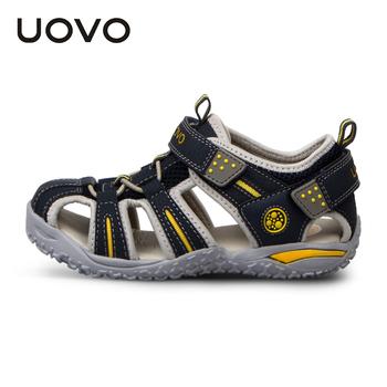 Uovo летние детские сандалии пространство кожаные детские сандалии для мальчиков и девочек высокое качество размер 24-38 ярдов