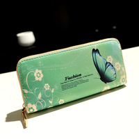 new arrival  women Wallet female long butterfly design pattern multi card holder wallet female zipper style