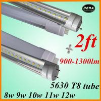 fre shipipng 100pcs/lot  t8 led tube 600mm 8w 9w 10w 11w 12w led fluorescent lamp tube led SMD5630  85-265v 2ft led light bulb
