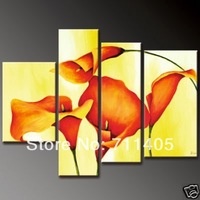3 Size Free Shipping 100% Hand painted  flower  4pcs group oil painting High Quality Wall Art on Canvas wholesale/ A-398