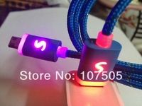 2M LED Braided Micro USB Charger Cable For Samsung 6FT Nylon Data Light up Charging Micro USB Cord Line For Blackberry LG