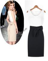 2014 Summer Europe Style Elegant Women's Ladies Back Slit Assorted Color Patchwork Slim Fit One-piece Chiffon Dress 17972 YM