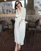 Summer Dress 2014 New Bohemia Dress Chiffon Pleated Dresses One Piece Women Casual Dresses Black White 2 Colors Drop Shipping