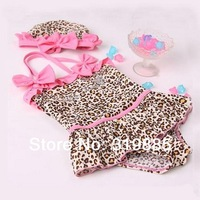 Wholesale 5 sets/lot 2014 new Baby Girls Toddler Swimwear Leopard Bikini Kids Bathing Suit One-Piece Swimsuit with hat